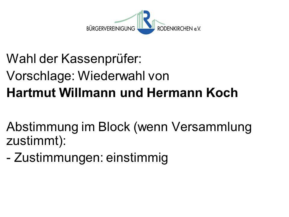 Wahlen Wahl der Kassenprüfer: Vorschlage: Wiederwahl von Hartmut Willmann und Hermann Koch Abstimmung im Block (wenn Versammlung zustimmt): - Zustimmu