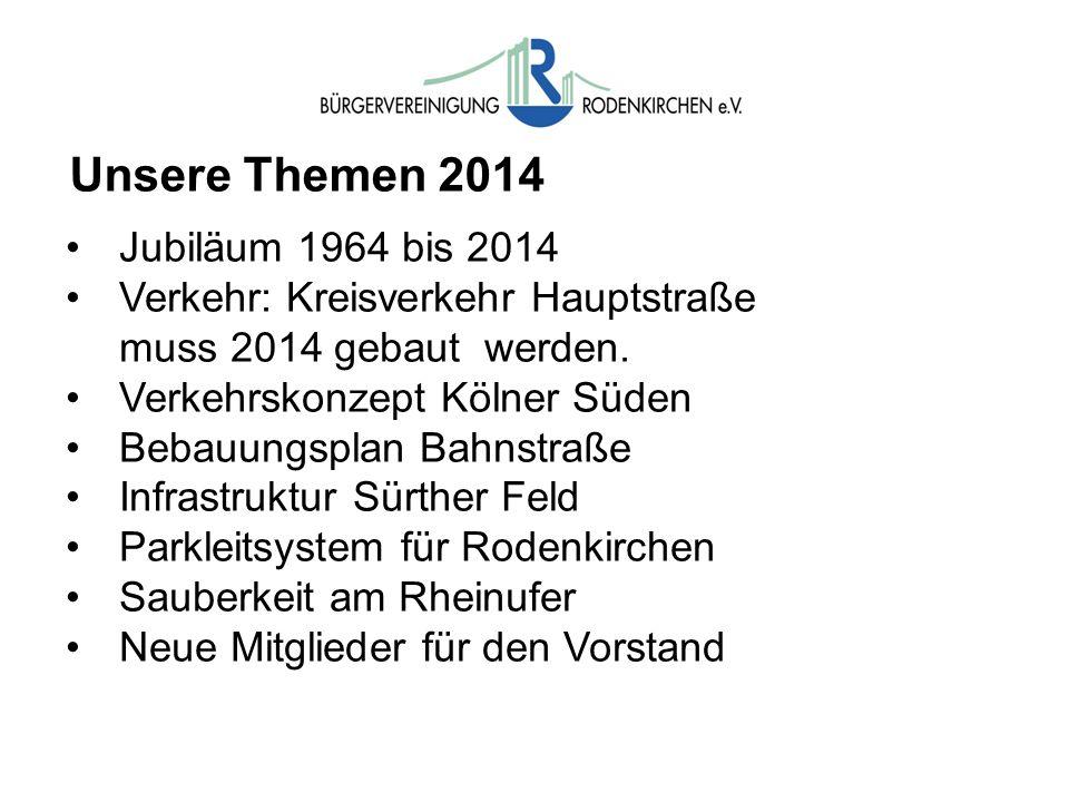 Unsere Themen 2014 Jubiläum 1964 bis 2014 Verkehr: Kreisverkehr Hauptstraße muss 2014 gebaut werden. Verkehrskonzept Kölner Süden Bebauungsplan Bahnst