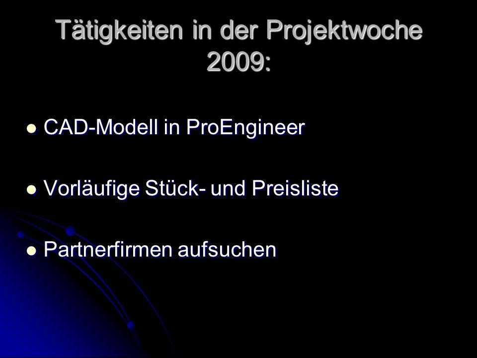 Tätigkeiten im 2 Semester Teile bestellen Teile bestellen Gesamte CAD Modellierung als KÜ- Projekt Gesamte CAD Modellierung als KÜ- Projekt