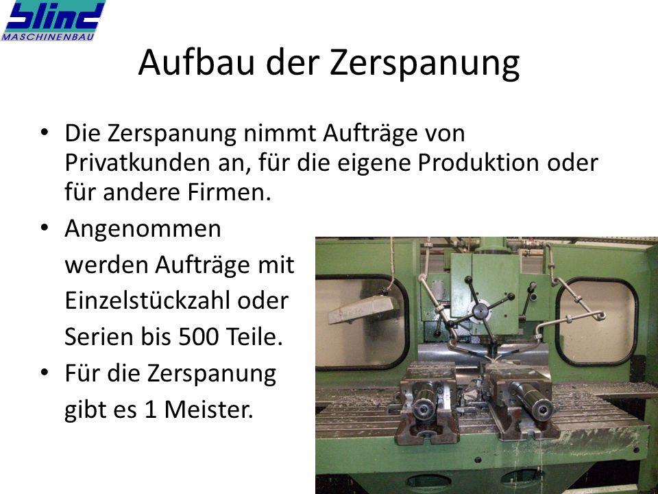 Aufbau der Zerspanung Die Zerspanung nimmt Aufträge von Privatkunden an, für die eigene Produktion oder für andere Firmen.