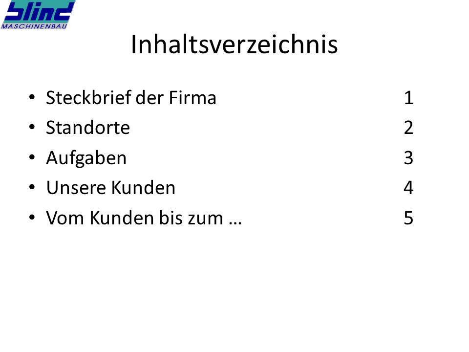 Inhaltsverzeichnis Steckbrief der Firma1 Standorte2 Aufgaben3 Unsere Kunden4 Vom Kunden bis zum …5