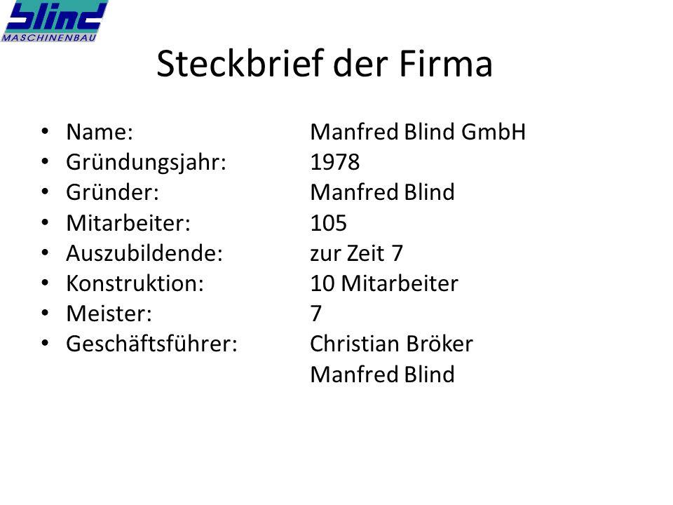 Steckbrief der Firma Name:Manfred Blind GmbH Gründungsjahr:1978 Gründer:Manfred Blind Mitarbeiter:105 Auszubildende:zur Zeit 7 Konstruktion:10 Mitarbeiter Meister:7 Geschäftsführer:Christian Bröker Manfred Blind