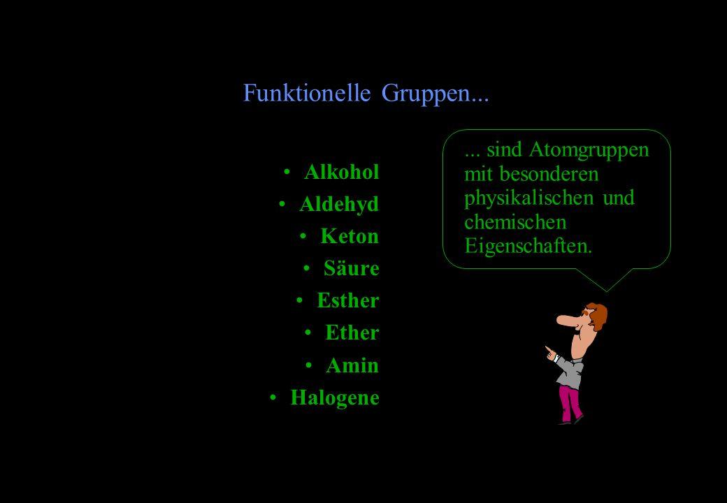 Alkohol Aldehyd Keton Säure Esther Ether Amin Halogene Funktionelle Gruppen...... sind Atomgruppen mit besonderen physikalischen und chemischen Eigens