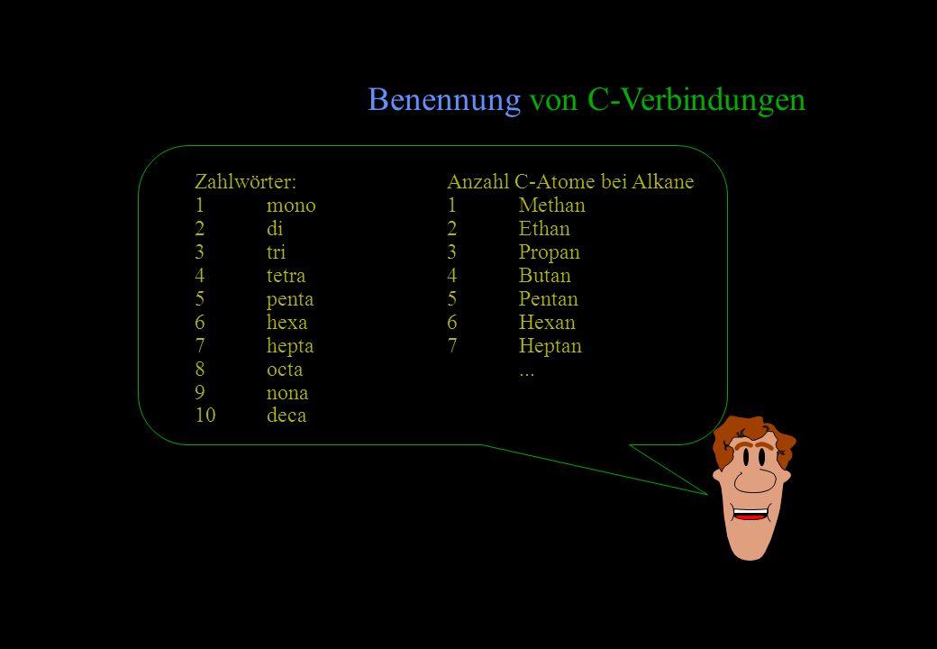 Benennung von C-Verbindungen Zahlwörter: 1mono 2di 3tri 4tetra 5penta 6hexa 7hepta 8octa 9nona 10deca Anzahl C-Atome bei Alkane 1Methan 2Ethan 3Propan