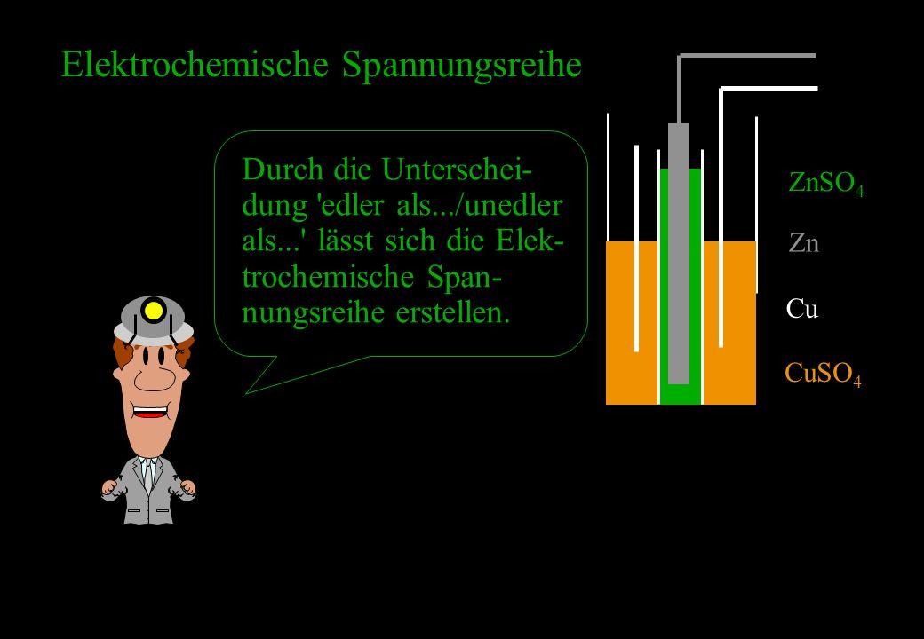 ZnSO 4 Zn Cu CuSO 4 Elektrochemische Spannungsreihe Durch die Unterschei- dung 'edler als.../unedler als...' lässt sich die Elek- trochemische Span- n