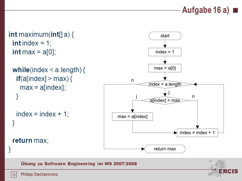 23 Übung zu Software Engineering im WS 2007/2008 Philipp Ciechanowicz Aufgabe 16 Betrachten Sie die unten aufgeführte Methode maximum, die aus dem übergebenen int-Array a der Länge n > 0, n den größten Wert sucht und diesen zurückgibt a)Erstellen Sie für die Methode maximum einen Flussgraphen.