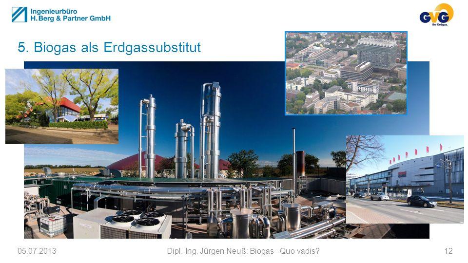 5. Biogas als Erdgassubstitut 05.07.2013Dipl.-Ing. Jürgen Neuß: Biogas - Quo vadis?12