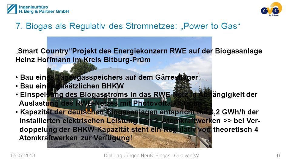 05.07.2013Dipl.-Ing. Jürgen Neuß: Biogas - Quo vadis?16 7. Biogas als Regulativ des Stromnetzes: Power to Gas Smart CountryProjekt des Energiekonzern