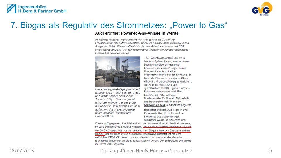 05.07.2013Dipl.-Ing. Jürgen Neuß: Biogas - Quo vadis?19 7. Biogas als Regulativ des Stromnetzes: Power to Gas