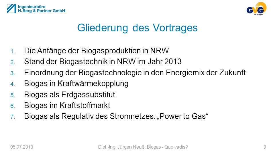 Gliederung des Vortrages 1. Die Anfänge der Biogasproduktion in NRW 2. Stand der Biogastechnik in NRW im Jahr 2013 3. Einordnung der Biogastechnologie