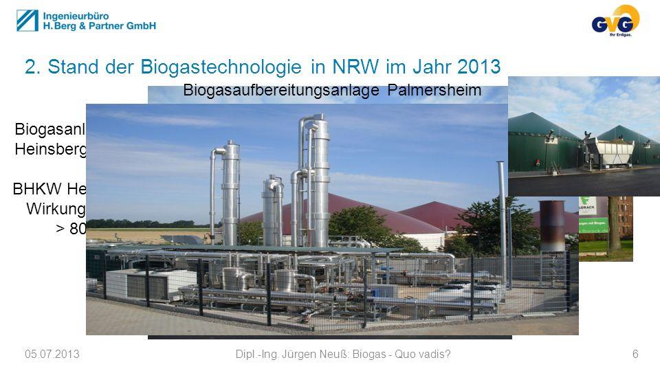2. Stand der Biogastechnologie in NRW im Jahr 2013 05.07.2013Dipl.-Ing. Jürgen Neuß: Biogas - Quo vadis?6 Biogasanlage Heinsberg BHKW Heinsberg Wirkun