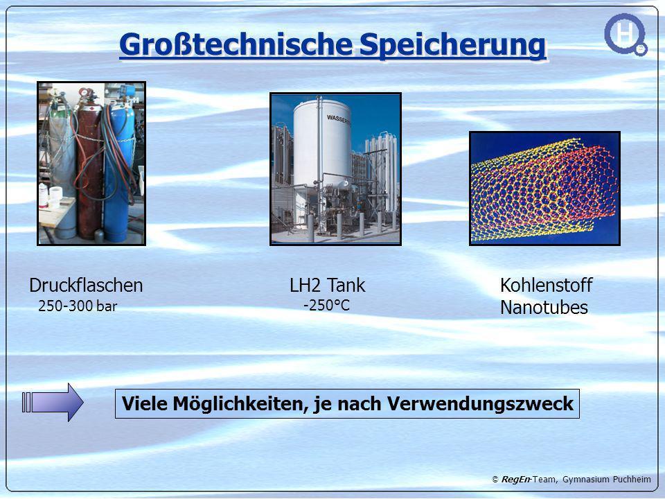 © RegEn-Team, Gymnasium Puchheim Großtechnische Speicherung Druckflaschen 250-300 bar LH2 Tank -250°C Kohlenstoff Nanotubes Viele Möglichkeiten, je na