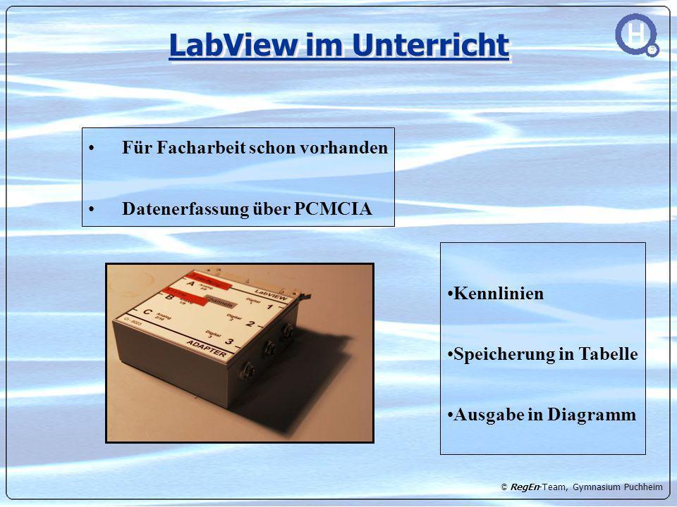 © RegEn-Team, Gymnasium Puchheim LabView im Unterricht Für Facharbeit schon vorhanden Datenerfassung über PCMCIA Kennlinien Speicherung in Tabelle Aus
