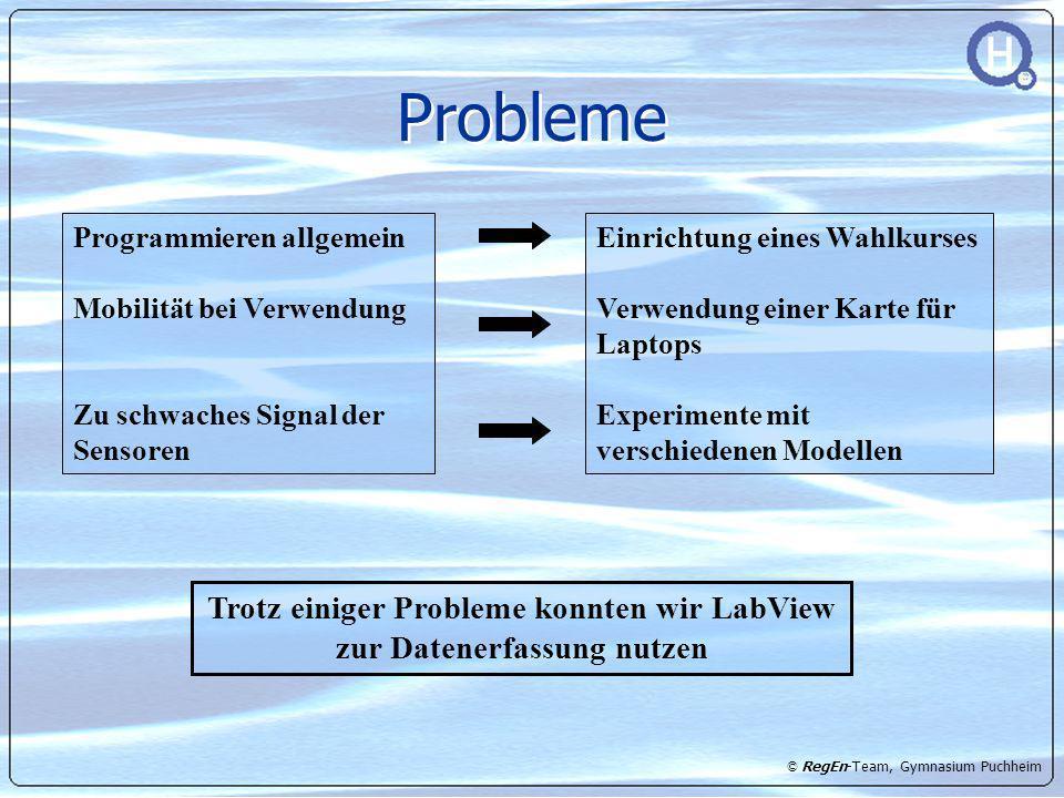 © RegEn-Team, Gymnasium Puchheim Probleme Einrichtung eines Wahlkurses Verwendung einer Karte für Laptops Experimente mit verschiedenen Modellen Progr