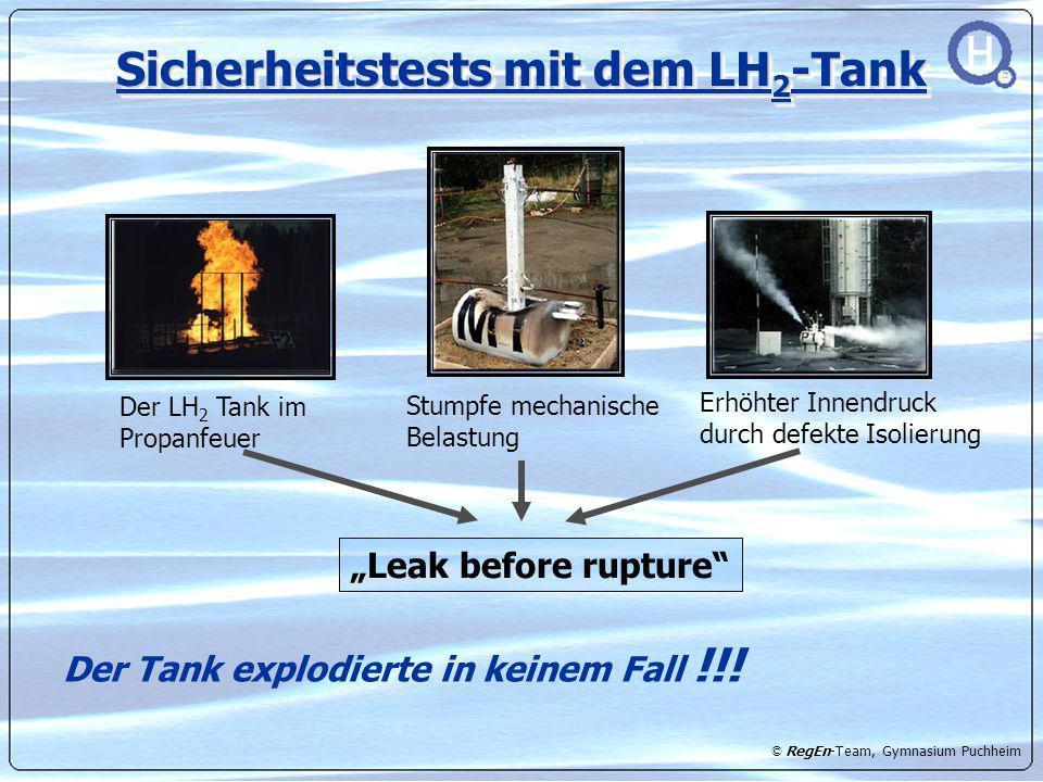 © RegEn-Team, Gymnasium Puchheim Sicherheitstests mit dem LH 2 -Tank Der LH 2 Tank im Propanfeuer Stumpfe mechanische Belastung Erhöhter Innendruck du