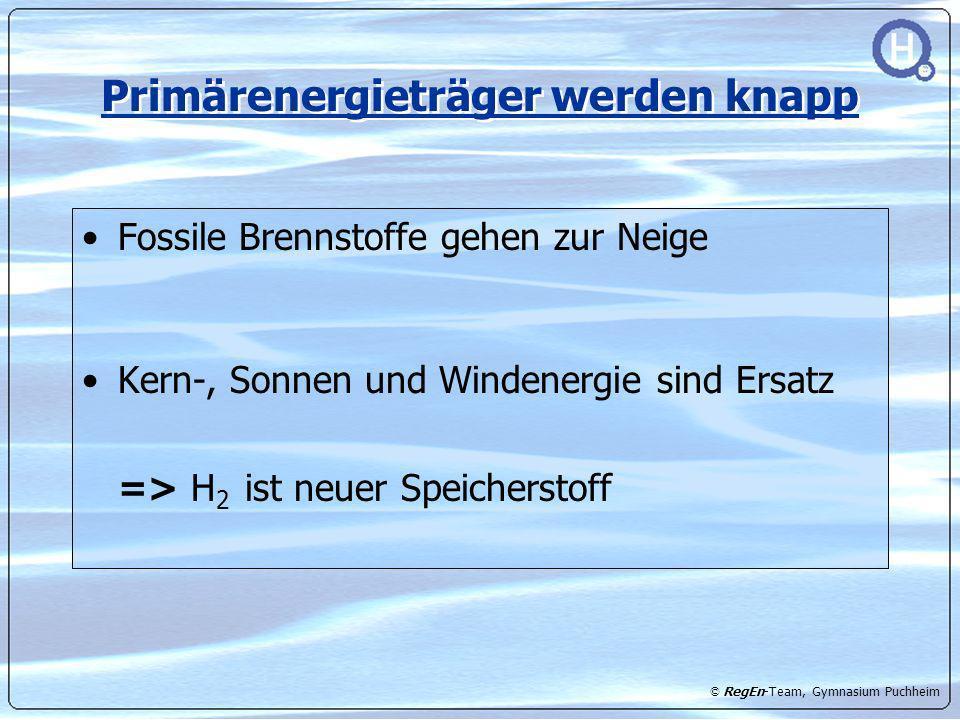 © RegEn-Team, Gymnasium Puchheim Primärenergieträger werden knapp Fossile Brennstoffe gehen zur Neige Kern-, Sonnen und Windenergie sind Ersatz => H 2