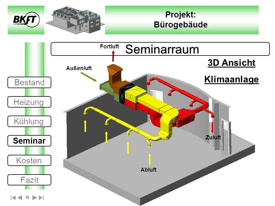 10 Projekt: Bürogebäude Seminarraum Seminarraum 3D Ansicht Klimaanlage Außenluft Fortluft Zuluft Abluft Bestand Heizung Kühlung Seminar Kosten Fazit