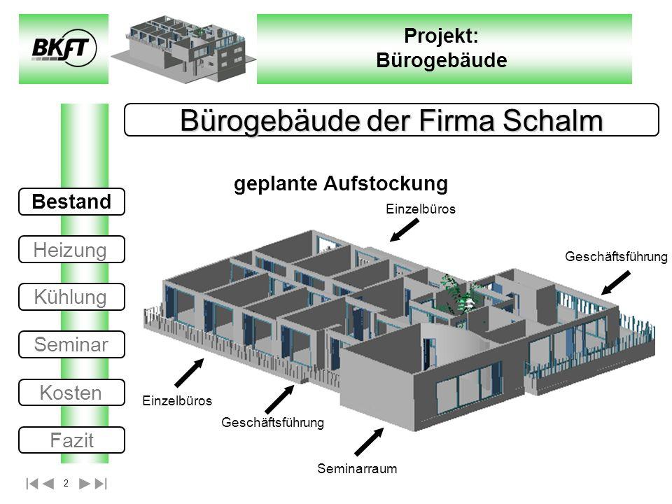 2 Projekt: Bürogebäude Bürogebäude der Firma Schalm geplante Aufstockung Bestand Heizung Kühlung Seminar Kosten Fazit Einzelbüros Geschäftsführung Sem