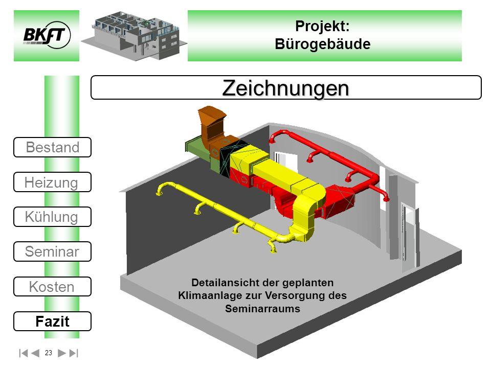23 Projekt: Bürogebäude Zeichnungen Detailansicht der geplanten Klimaanlage zur Versorgung des Seminarraums Bestand Heizung Kühlung Seminar Kosten Faz