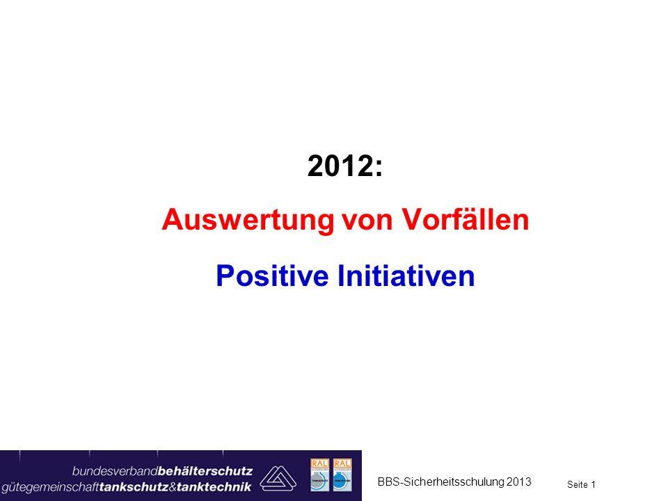 2012: Auswertung von Vorfällen Positive Initiativen BBS-Sicherheitsschulung 2013 Seite 1