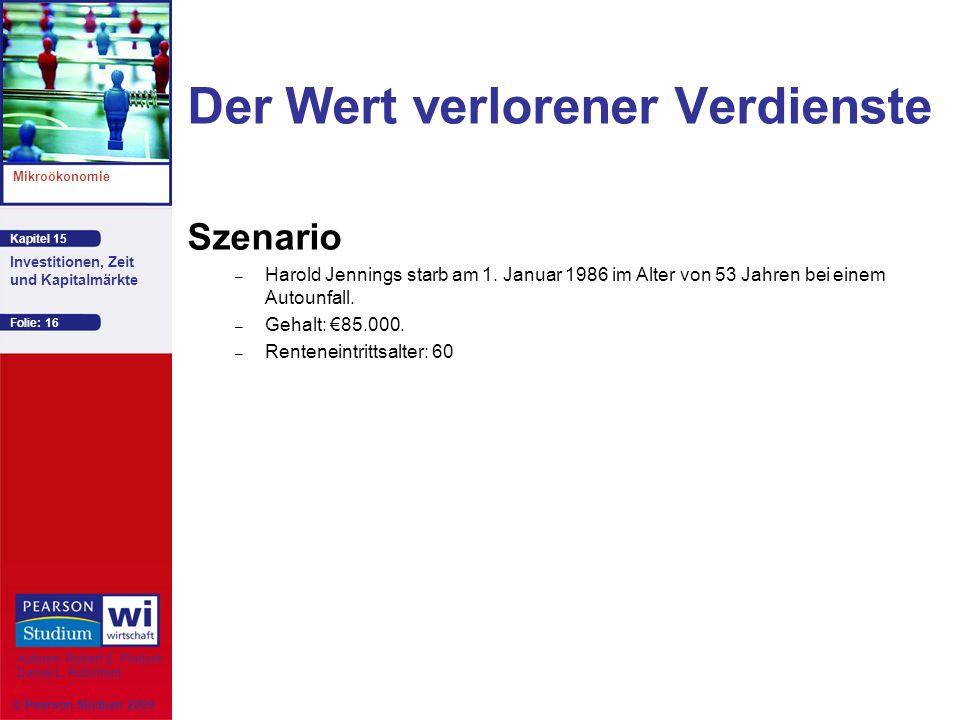 Kapitel 15 Mikroökonomie Autoren: Robert S. Pindyck Daniel L. Rubinfeld Investitionen, Zeit und Kapitalmärkte © Pearson Studium 2009 Folie: 16 Der Wer