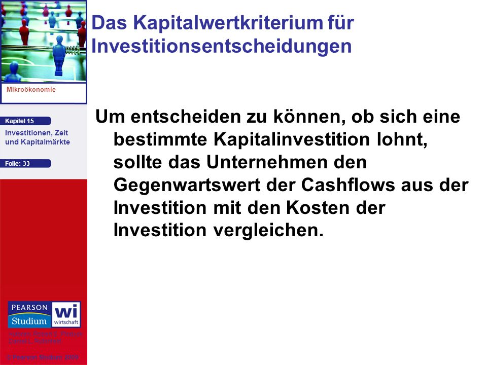 Kapitel 15 Mikroökonomie Autoren: Robert S. Pindyck Daniel L. Rubinfeld Investitionen, Zeit und Kapitalmärkte © Pearson Studium 2009 Folie: 33 Das Kap
