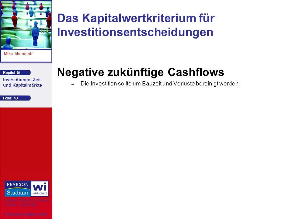 Kapitel 15 Mikroökonomie Autoren: Robert S. Pindyck Daniel L. Rubinfeld Investitionen, Zeit und Kapitalmärkte © Pearson Studium 2009 Folie: 43 Negativ