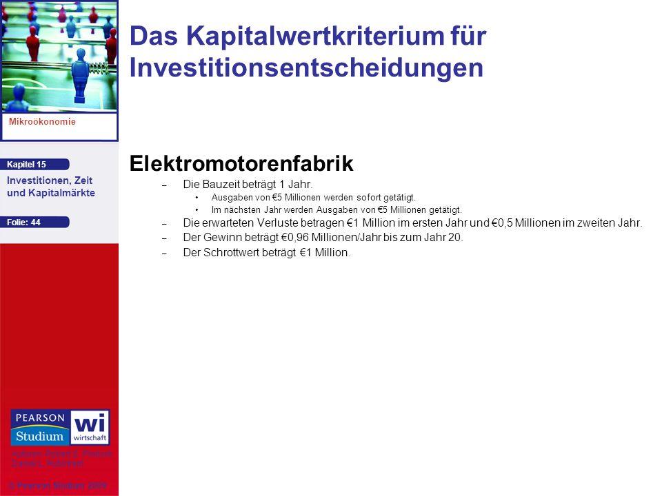 Kapitel 15 Mikroökonomie Autoren: Robert S. Pindyck Daniel L. Rubinfeld Investitionen, Zeit und Kapitalmärkte © Pearson Studium 2009 Folie: 44 Elektro