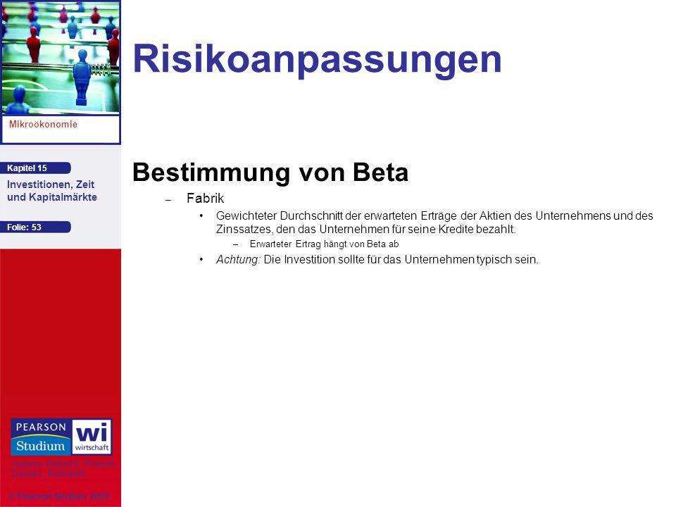 Kapitel 15 Mikroökonomie Autoren: Robert S. Pindyck Daniel L. Rubinfeld Investitionen, Zeit und Kapitalmärkte © Pearson Studium 2009 Folie: 53 Risikoa