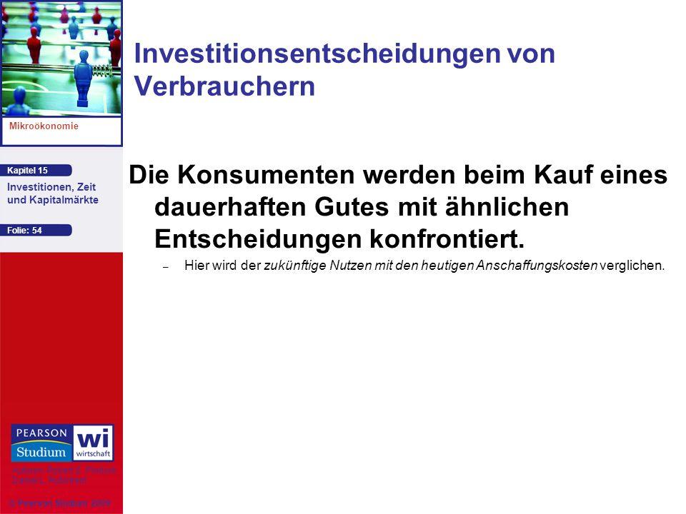 Kapitel 15 Mikroökonomie Autoren: Robert S. Pindyck Daniel L. Rubinfeld Investitionen, Zeit und Kapitalmärkte © Pearson Studium 2009 Folie: 54 Investi