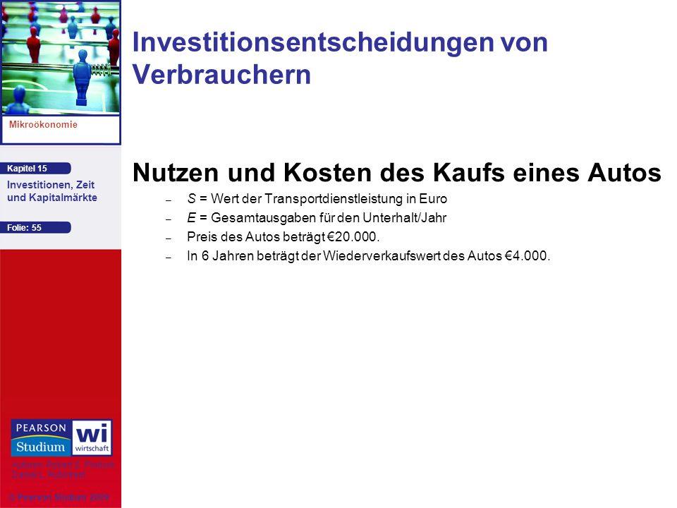 Kapitel 15 Mikroökonomie Autoren: Robert S. Pindyck Daniel L. Rubinfeld Investitionen, Zeit und Kapitalmärkte © Pearson Studium 2009 Folie: 55 Nutzen