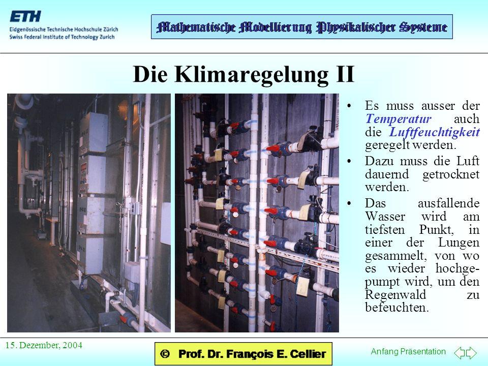 Anfang Präsentation 15. Dezember, 2004 Die Klimaregelung II Es muss ausser der Temperatur auch die Luftfeuchtigkeit geregelt werden. Dazu muss die Luf