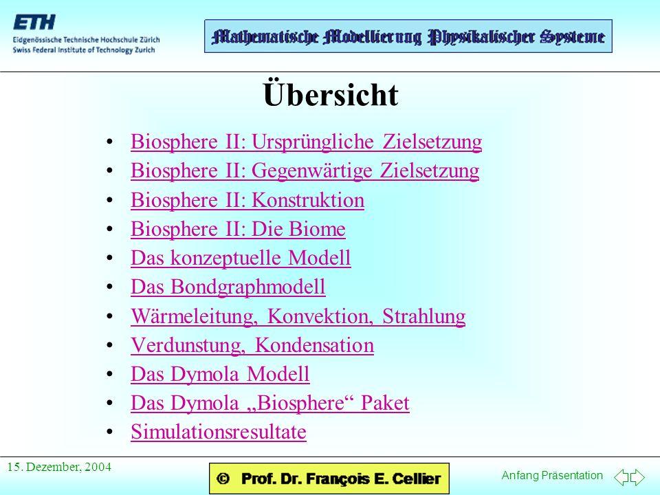 Anfang Präsentation 15. Dezember, 2004 Übersicht Biosphere II: Ursprüngliche ZielsetzungBiosphere II: Ursprüngliche Zielsetzung Biosphere II: Gegenwär