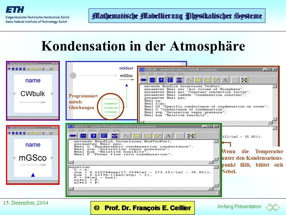 Anfang Präsentation 15. Dezember, 2004 Kondensation in der Atmosphäre Programmiert mittels Gleichungen Wenn die Temperatur unter den Kondensations- pu