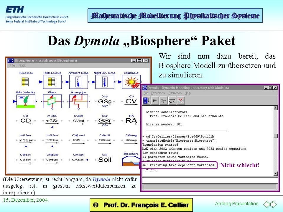 Anfang Präsentation 15. Dezember, 2004 Das Dymola Biosphere Paket Wir sind nun dazu bereit, das Biosphere Modell zu übersetzen und zu simulieren. Nich
