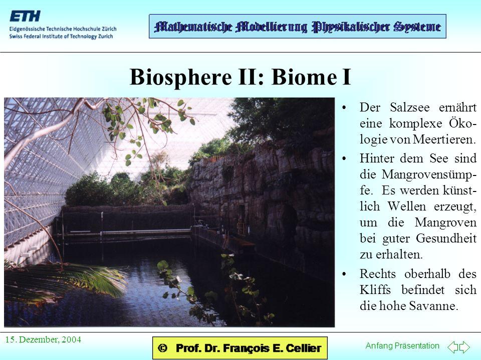Anfang Präsentation 15. Dezember, 2004 Biosphere II: Biome I Der Salzsee ernährt eine komplexe Öko- logie von Meertieren. Hinter dem See sind die Mang