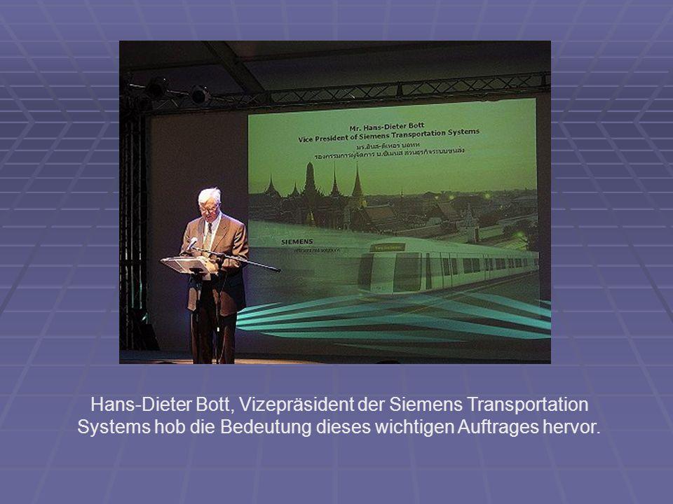 Hans-Dieter Bott, Vizepräsident der Siemens Transportation Systems hob die Bedeutung dieses wichtigen Auftrages hervor.
