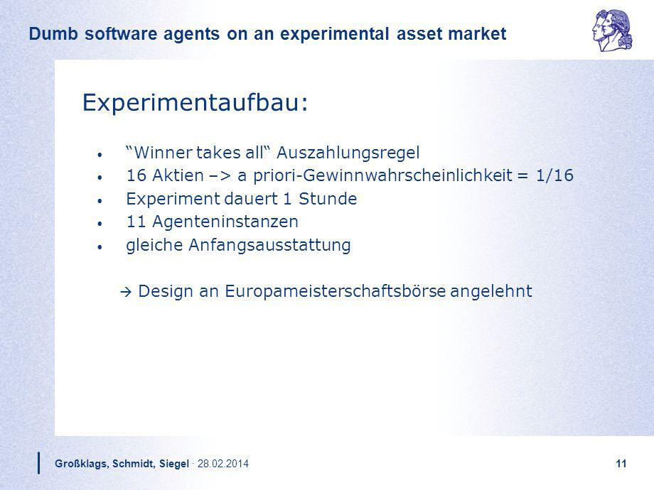 Dumb software agents on an experimental asset market Großklags, Schmidt, Siegel · 28.02.201411 Experimentaufbau: Winner takes all Auszahlungsregel 16