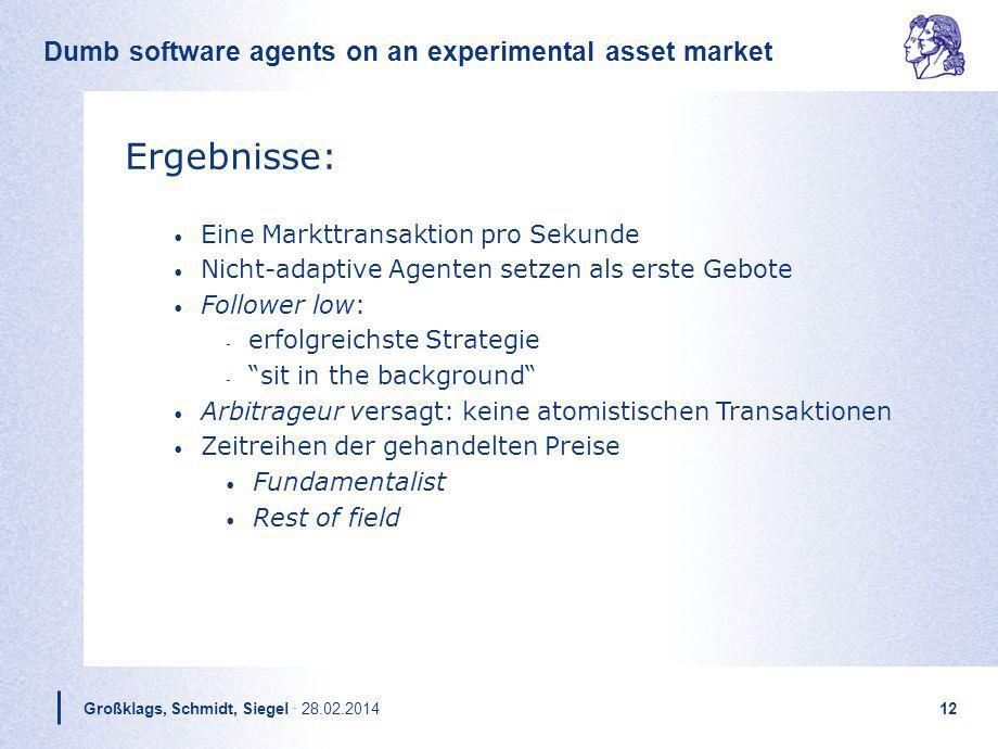 Dumb software agents on an experimental asset market Großklags, Schmidt, Siegel · 28.02.201412 Ergebnisse: Eine Markttransaktion pro Sekunde Nicht-ada