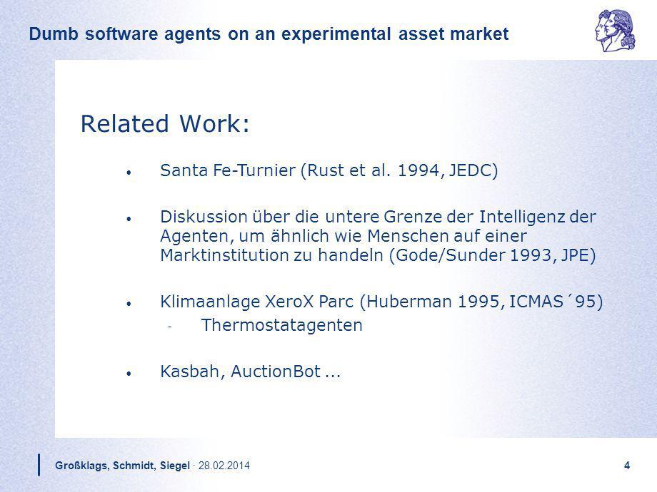 Dumb software agents on an experimental asset market Großklags, Schmidt, Siegel · 28.02.20144 Related Work: Santa Fe-Turnier (Rust et al. 1994, JEDC)