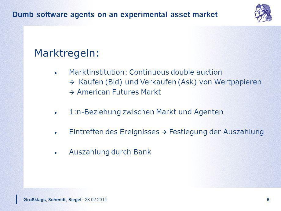 Dumb software agents on an experimental asset market Großklags, Schmidt, Siegel · 28.02.20146 Marktregeln: Marktinstitution: Continuous double auction