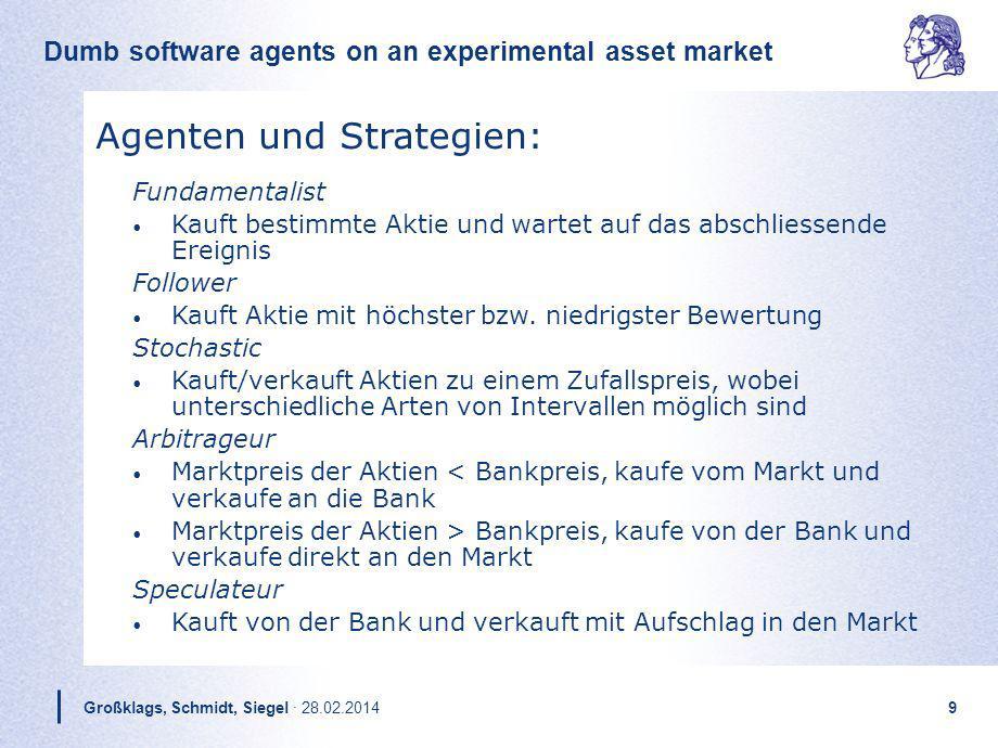 Dumb software agents on an experimental asset market Großklags, Schmidt, Siegel · 28.02.20149 Fundamentalist Kauft bestimmte Aktie und wartet auf das