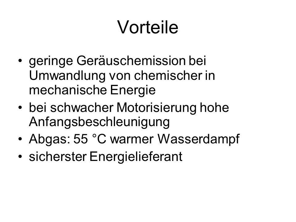 Nachteile Energiespeicher wesentlich größer als bei Benzin- und Dieselfahrzeugen sehr aufwändige Konstruktion im Bezug auf Dichtheit, Wärmeisolierung und Sicherheit H 2 wird aus Erdgas gewonnen Aufbau einer Infrastruktur H 2 müsste mit Elektrolyse aus H 2 O gewonnen werden