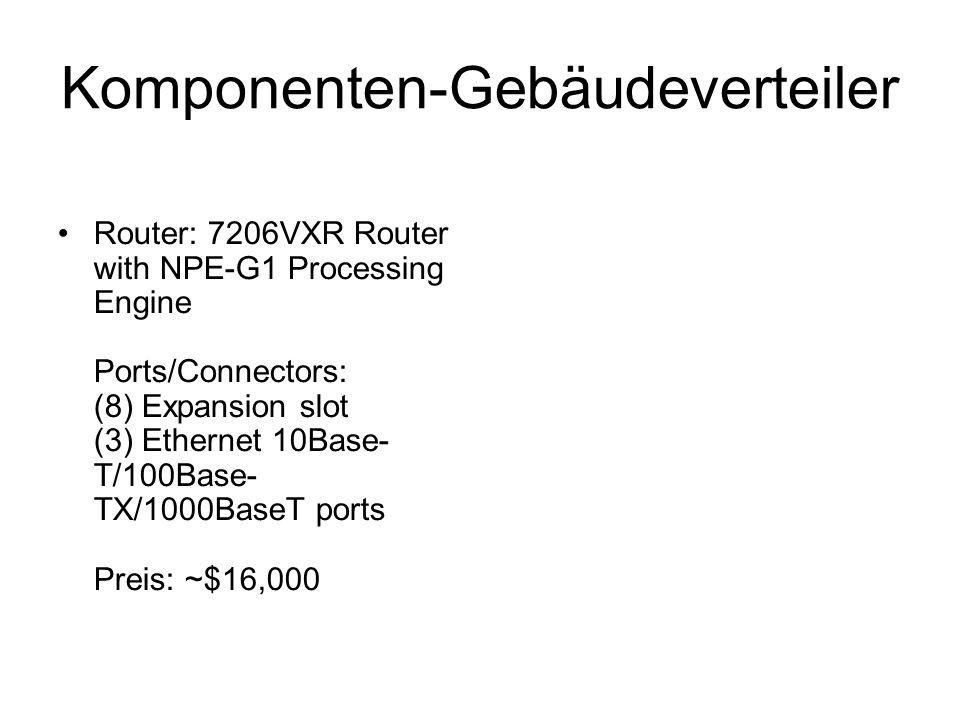 Komponenten-Gebäudeverteiler Router: 7206VXR Router with NPE-G1 Processing Engine Ports/Connectors: (8) Expansion slot (3) Ethernet 10Base- T/100Base-