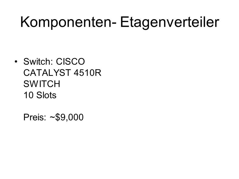Komponenten- Etagenverteiler Switch: CISCO CATALYST 4510R SWITCH 10 Slots Preis: ~$9,000