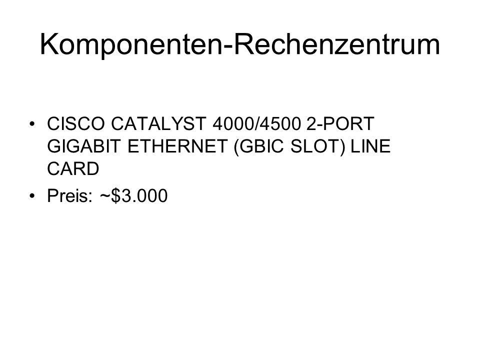 Kostenaufstellung KomponenteAnzahlPreisGesamt Router: Cisco 761323000060000 Gigabit Ethernet Interface Modules246000144000 7206VXR Router816000128000 Cisco Gigabit Ethernet Adapter405000200000 CATALYST 4510R SWITCH149000126000 CATALYST 4000/4500 2-PORT GBIC LINE CARD14300042000 CATALYST Line Card expansion module 48 ports404500180000 Cisco Catalyst® 2950G-48 EI10320032000 IBM NetBAY 42E – rack24260062400 Cisco Aironet AP 1200 Access Point2065013000 Kerpen Competence.