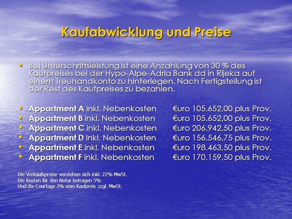 Kaufabwicklung und Preise Bei Unterschriftsleistung ist eine Anzahlung von 30 % des Kaufpreises bei der Hypo-Alpe-Adria Bank dd in Rijeka auf einem Treuhandkonto zu hinterlegen.