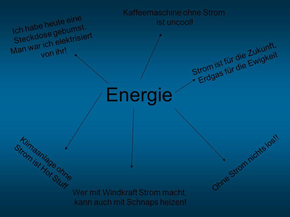 Energie Wer mit Windkraft Strom macht, kann auch mit Schnaps heizen! Ohne Strom nichts los!! Ich habe heute eine Steckdose gebumst. Man war ich elektr
