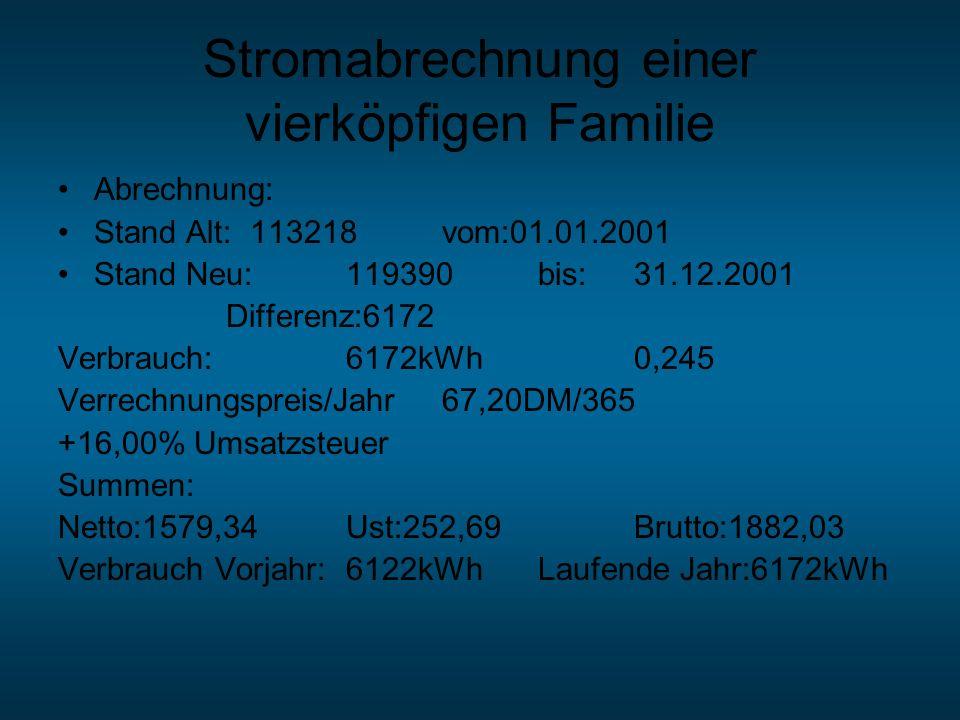 Stromabrechnung einer vierköpfigen Familie Abrechnung: Stand Alt:113218vom:01.01.2001 Stand Neu:119390bis:31.12.2001 Differenz:6172 Verbrauch:6172kWh0