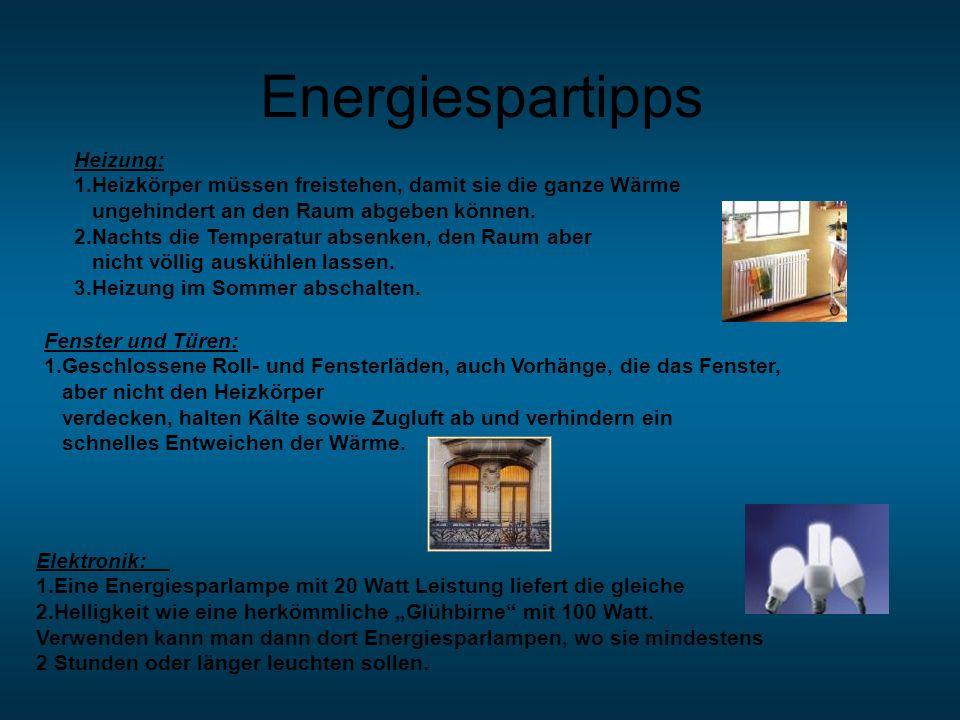 Energiespartipps Heizung: 1.Heizkörper müssen freistehen, damit sie die ganze Wärme ungehindert an den Raum abgeben können. 2.Nachts die Temperatur ab